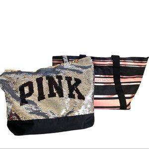 Victoria's Secret Pink Duffle Bag Sequin Large X2